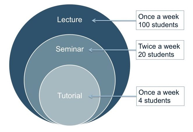 three concentric circles showing that lectures have 100 students, seminars have 20 students, and tutorials have four students