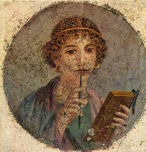 Fresco of Sappho from Pompeii, dating from 55-79 CE