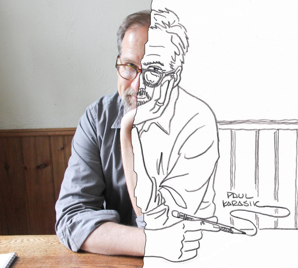 Self-portrait of Paul Karasik, half photo, half drawing