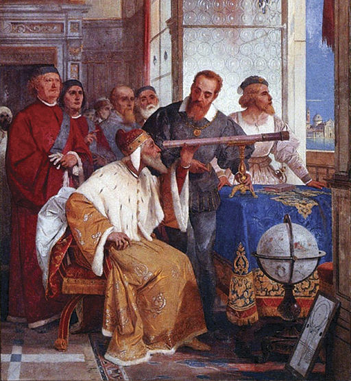 Fresco painting of a man sitting and looking through a telescope pointed out a window while other men look on