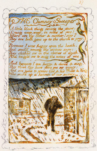 """Blake's poem """"The Chimney Sweeper"""" from Songs of Experience, along with the engraving of a boy chimney sweeper in the snow"""
