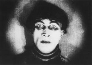 screen shot of somnambulist Cesare's face with an iris shot
